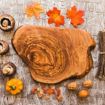 Alimentos e partes de árvore em torno de um pedaço de madeira