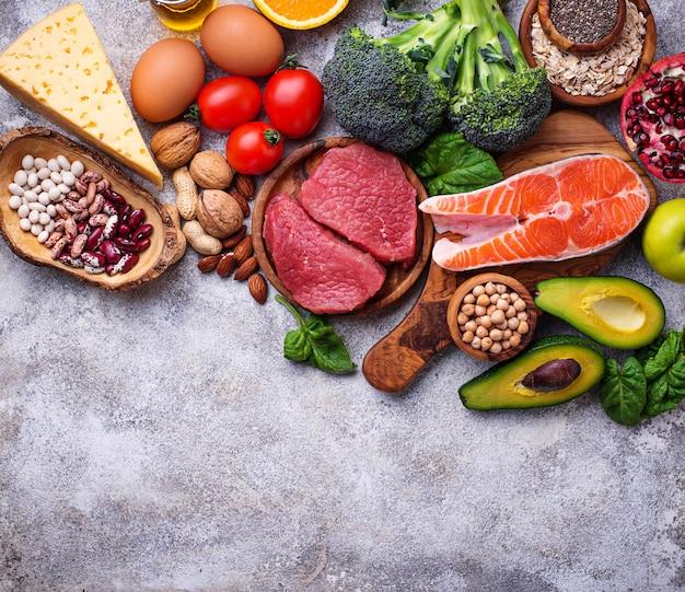 Alimentos orgânicos para nutrição saudável e superalimentos