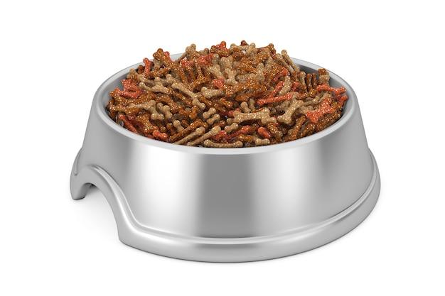 Alimentos para animais secos em uma tigela de aço inoxidável para cães, gatos ou outros animais de estimação em um fundo branco. renderização 3d