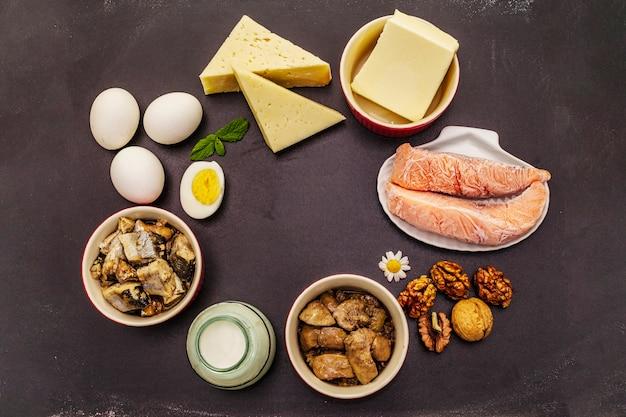 Alimentos que contenham vitamina d. queijo, ovos, manteiga, nozes, leite, sardinha