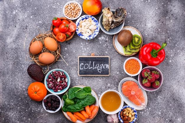 Alimentos ricos em colágeno. produtos saudáveis