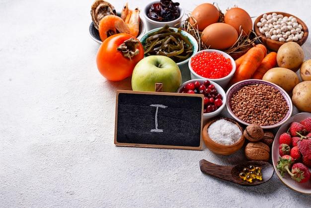 Alimentos saudáveis contendo iodo.