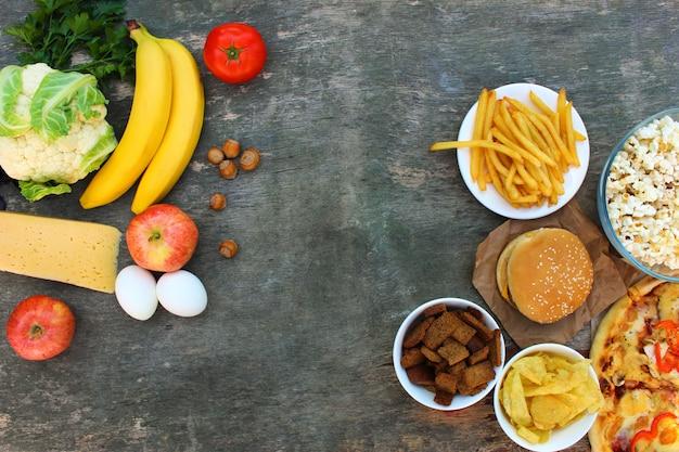 Alimentos saudáveis e insalubres