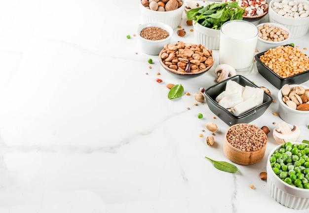 Alimentos veganos de dieta saudável, fontes de proteínas vegetarianas: tofu, leite vegano, feijão, lentilha, nozes, leite de soja, espinafre e sementes. vista superior na mesa branca.