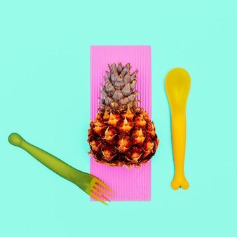 Almoço de abacaxi. design de arte minimalista