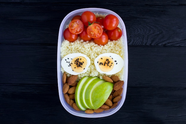 Almoço vegetariano na caixa