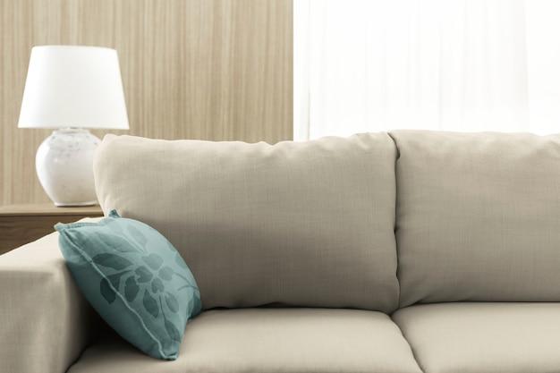 Almofada do sofá da sala de estar, design interior minimalista