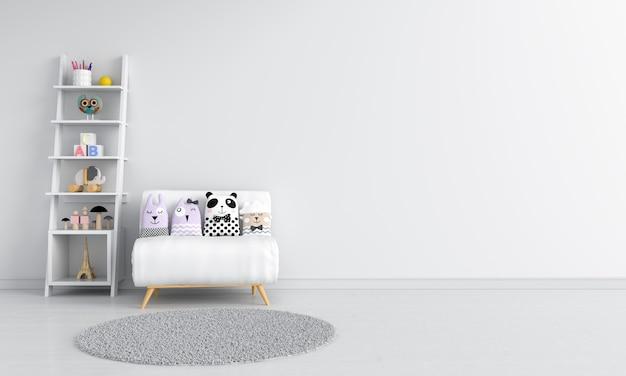 Almofada no sofá na sala de criança branca para maquete