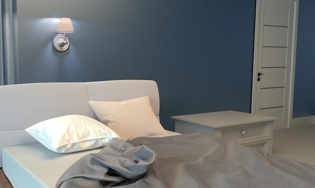 Almofadas brancas no quarto de cama. renderização 3d