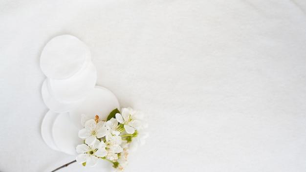 Almofadas de algodão e flores sobre fundo branco