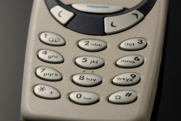 Almofadas de telefone celular. botões de close-up de telefone antigo
