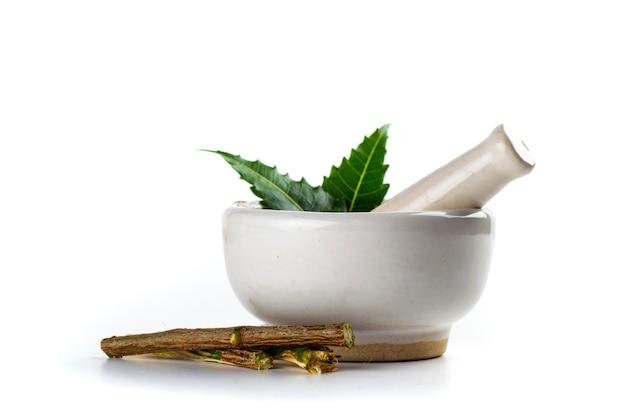 Almofariz e pilão com folhas de nim medicinal em fundo branco