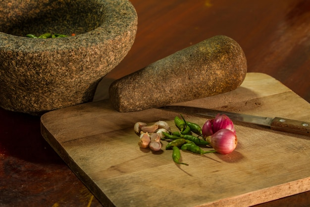 Almofariz e pilão de pedra