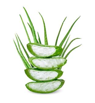 Aloe vera fatiado isolado no fundo branco