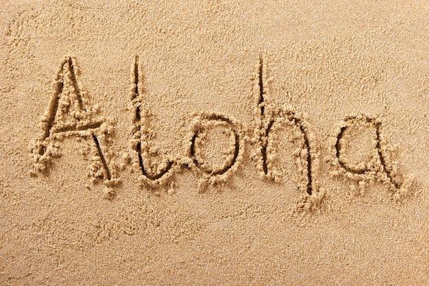 Aloha havaí verão praia escrevendo mensagem