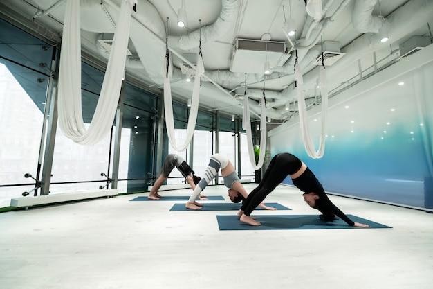 Alongamento das costas. duas mulheres de cabelos escuros e um homem se espreguiçando depois de uma incrível ioga aérea