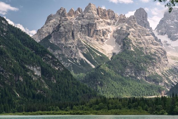 Alpes lindos com montanha e lago perto da floresta verde