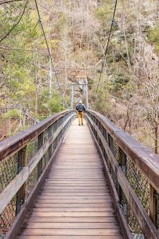 Alpinista caminhando em uma ponte suspensa de madeira na floresta