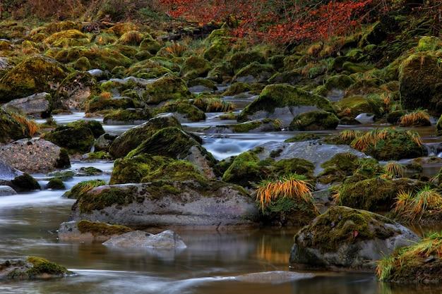 Alta definição de rio que flui em montanha rochosa