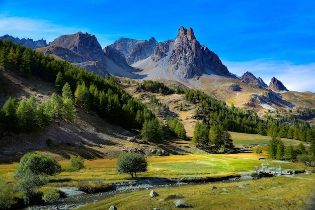 Altas montanhas e colinas cobertas de florestas