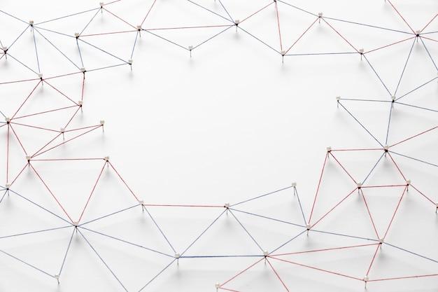 Alto ângulo da rede de comunicação da internet com espaço de cópia