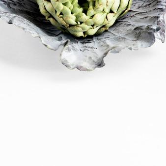 Alto ângulo de alcachofra na folha de couve