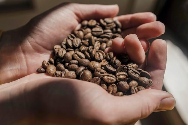Alto ângulo de barista segurando grãos de café nas mãos em forma de coração