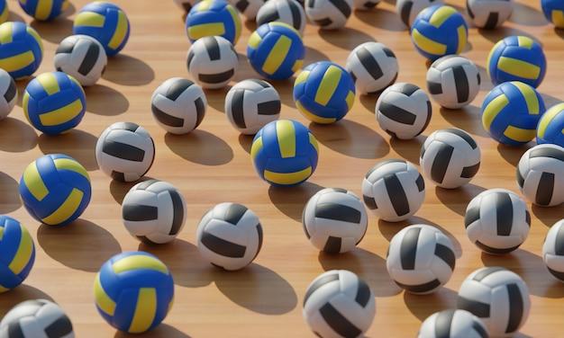 Alto ângulo de composição com bolas de vôlei Foto gratuita