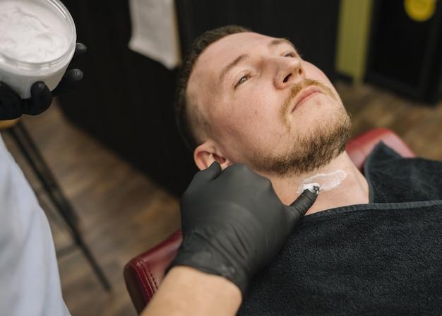 Alto ângulo do conceito de barbearia