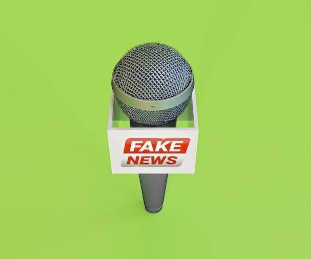 Alto ângulo do microfone com notícias falsas