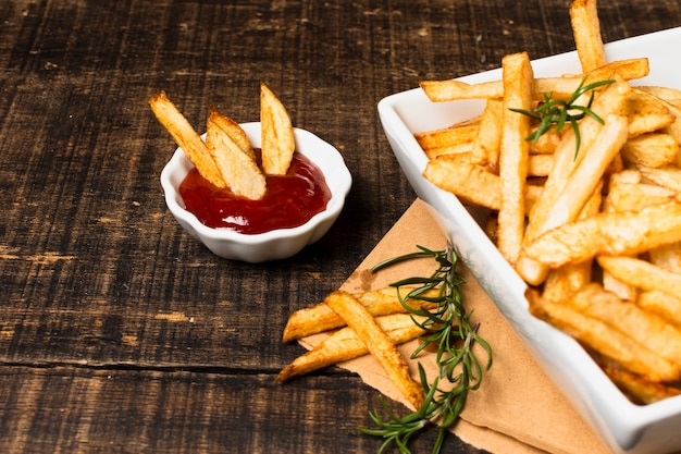 Alto, ângulo, francês, frita, ketchup