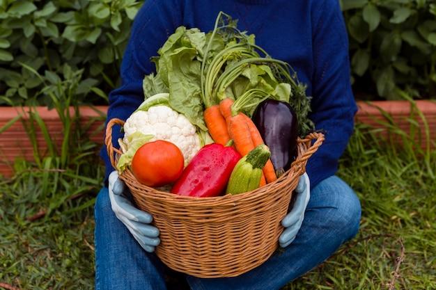 Alto, ângulo, segurando, cesta, com, legumes