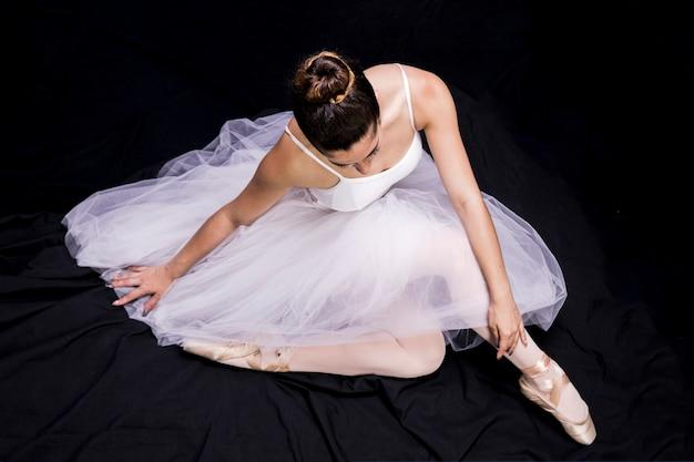 Alto, ângulo, sentando, bailarina, posição