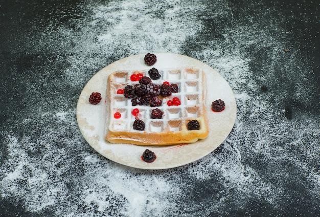 Alto ângulo vista delicioso waffle no prato com amoras no escuro. horizontal