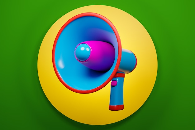 Alto-falante de desenho animado azul e rosa sobre um fundo monocromático verde e amarelo. ilustração 3d de um megafone. símbolo de publicidade, conceito de promoção.