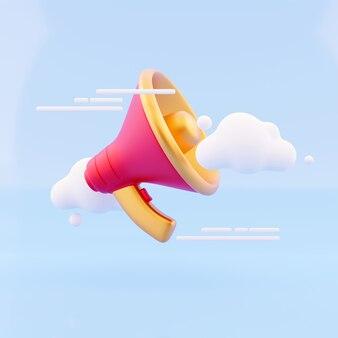 Alto-falante de renderização 3d, megafone, bolha de nuvem. serviço para o conceito de publicidade do influenciador.