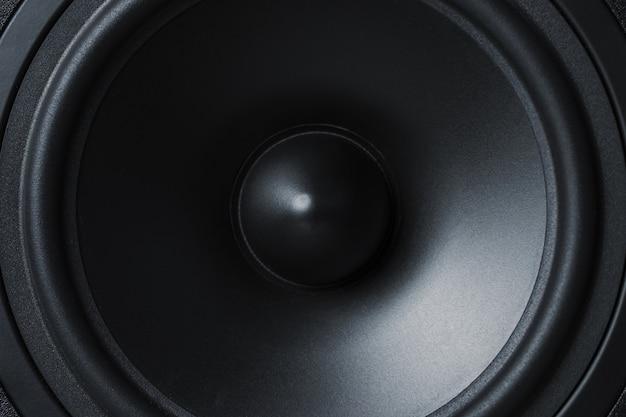 Alto-falante de som de membrana em preto, close-up