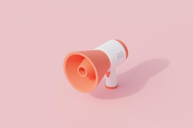 Alto-falante ou megafone único objeto isolado. renderização 3d