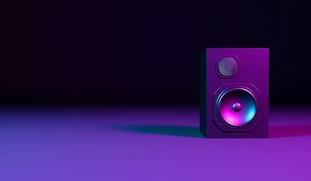 Alto-falante preto em um fundo preto em luz de néon, ilustração 3d
