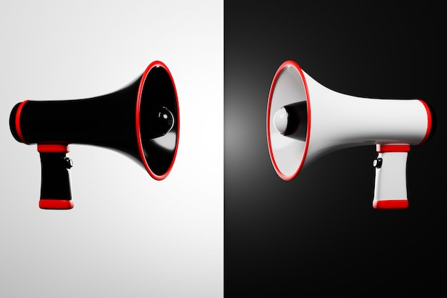 Alto-falantes de desenho animado preto e branco em um fundo monocromático ficam de frente um para o outro. ilustração 3d de um megafone. símbolo de publicidade, conceito de promoção.