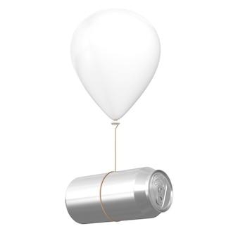 Alumínio em branco pode flutuando com balão branco de hellium em um fundo branco. renderização 3d