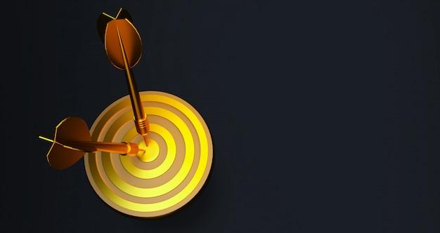 Alvo com um dardo no centro. conceito de realização objetiva. alvo de ouro