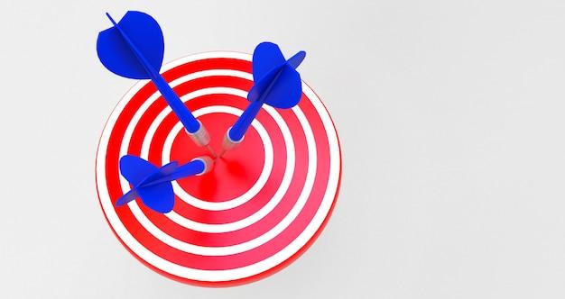 Alvo com um dardo no centro. conceito de realização objetiva.