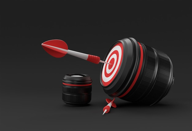 Alvo de lente de câmera realista para renderização 3d de tiro perfeito.
