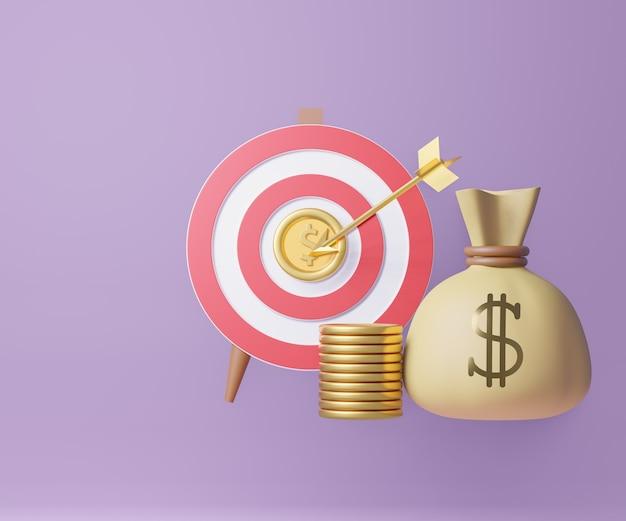 Alvo de tiro com arco 3d vermelho com moedas de ouro de flecha e bolsa de dinheiro. conceito de marketing. renderização de ilustração 3d.