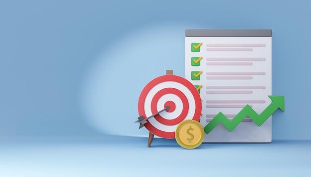 Alvo de tiro com arco vermelho 3d com placa de lista de verificação e moeda de dinheiro. conceito de marketing. renderização de ilustração 3d.
