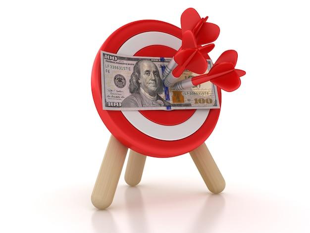 Alvo e dardos com dólar
