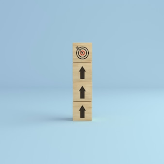 Alvo para cima. seta para cima com torre de blocos de cubos de madeira com ícone de alvo no fundo branco. conceito de estratégia de negócios e plano de ação. renderização 3d.