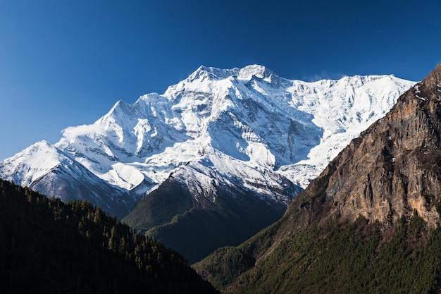 Amanhecer, em, annapurna, montanhas