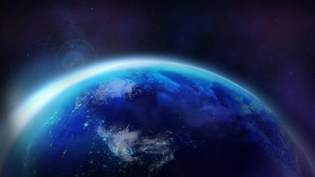 Amanhecer sobre o planeta terra.